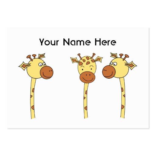 Desenhos animados de três girafas cartao de visita
