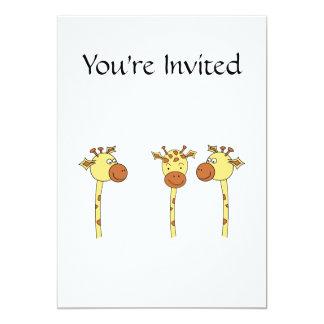 Desenhos animados de três girafas convite 12.7 x 17.78cm