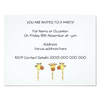 Desenhos animados de três girafas convite 10.79 x 13.97cm