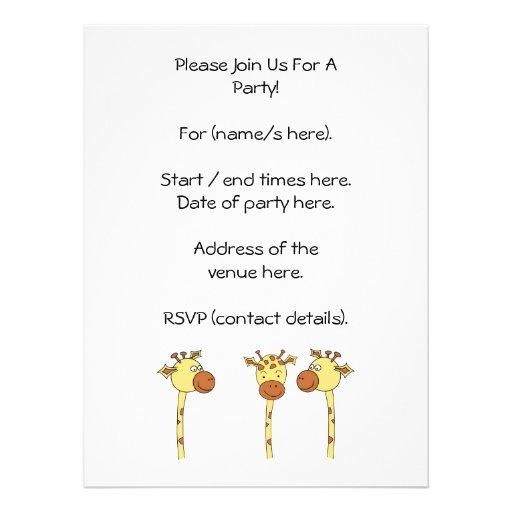 Desenhos animados de três girafas convites personalizados
