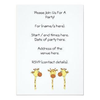 Desenhos animados de três girafas convite 16.51 x 22.22cm