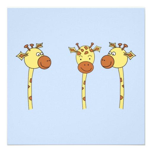 Desenhos animados de três girafas convites personalizado