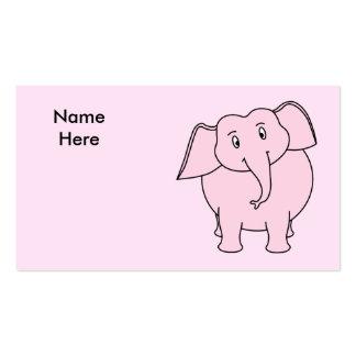 Desenhos animados de um elefante cor-de-rosa cartão de visita
