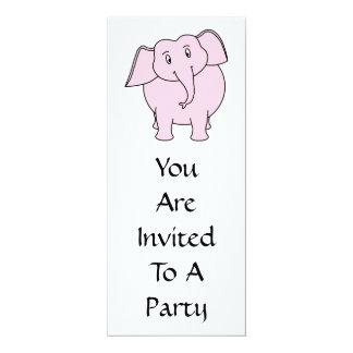 Desenhos animados de um elefante cor-de-rosa convite 10.16 x 23.49cm