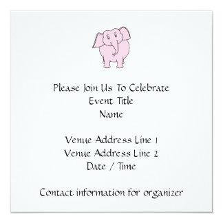 Desenhos animados de um elefante cor-de-rosa convite quadrado 13.35 x 13.35cm