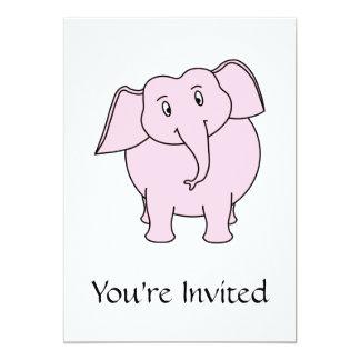 Desenhos animados de um elefante cor-de-rosa convite 12.7 x 17.78cm