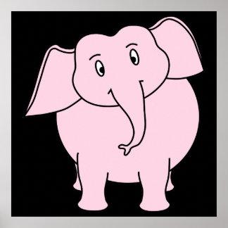 Desenhos animados de um elefante cor-de-rosa posteres