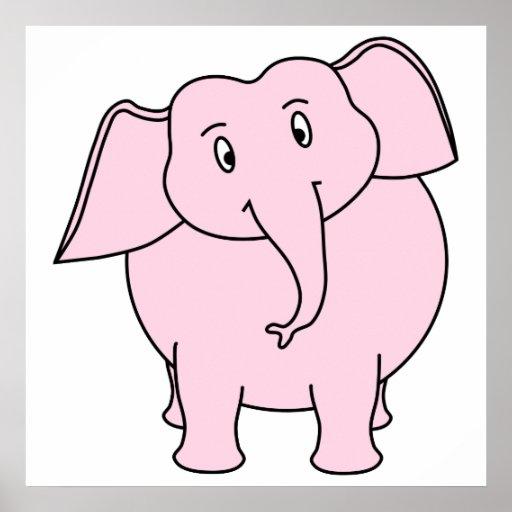 Desenhos animados de um elefante cor-de-rosa pôsteres