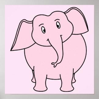 Desenhos animados de um elefante cor-de-rosa poster