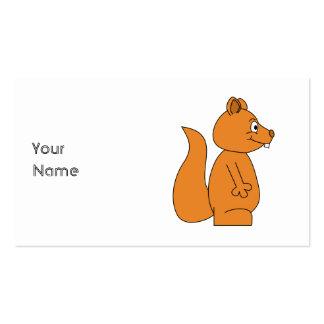 Desenhos animados de um esquilo vermelho modelos cartões de visitas