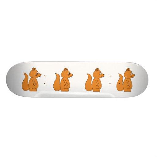 Desenhos animados de um esquilo vermelho skateboard