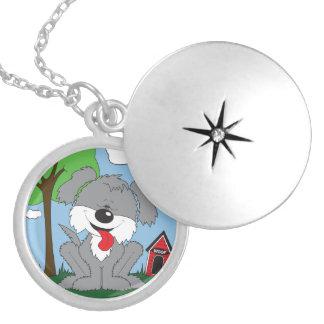 Desenhos animados desgrenhado bonitos do filhote colar banhado a prata