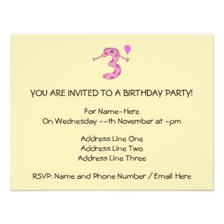 Desenhos animados do aniversário de 3 anos no rosa convite personalizado
