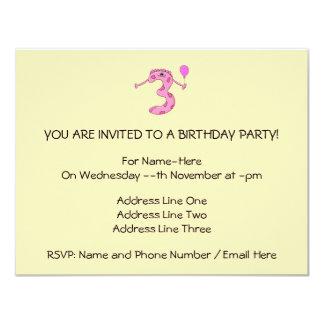 Desenhos animados do aniversário de 3 anos no rosa convite 10.79 x 13.97cm
