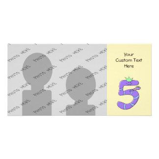 Desenhos animados do aniversário do roxo 5os cartão com foto