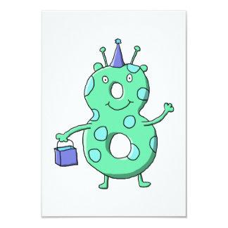 Desenhos animados do aniversário do verde da convite 8.89 x 12.7cm