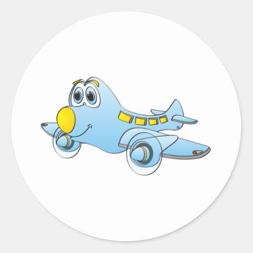 Desenhos animados do avião adesivos em formato redondos