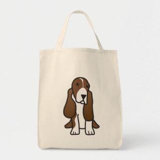 Desenhos animados do cão de Basset Hound Sacola Tote De Mercado