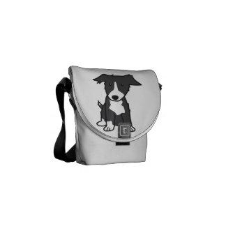 Desenhos animados do cão de border collie bolsa mensageiro