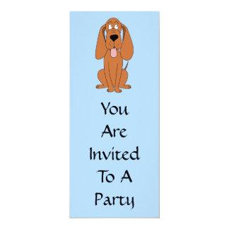 Desenhos animados do cão de Brown. Hound. Convite 10.16 X 23.49cm