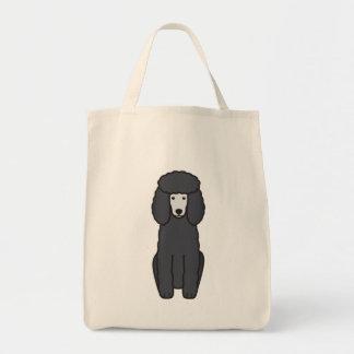 Desenhos animados do cão de caniche sacola tote de mercado