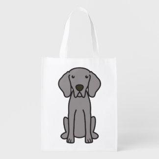 Desenhos animados do cão de Weimaraner Sacolas Ecológicas Para Supermercado