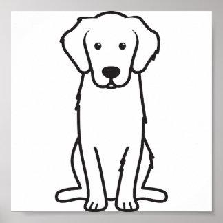 Desenhos animados do cão do golden retriever poster