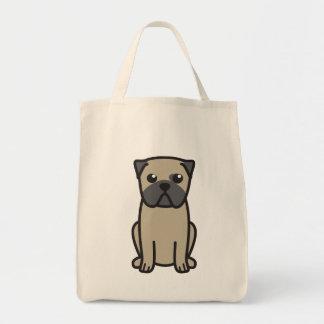 Desenhos animados do cão do Pug Sacola Tote De Mercado