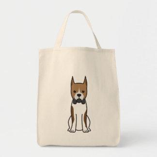 Desenhos animados do cão do pugilista sacola tote de mercado