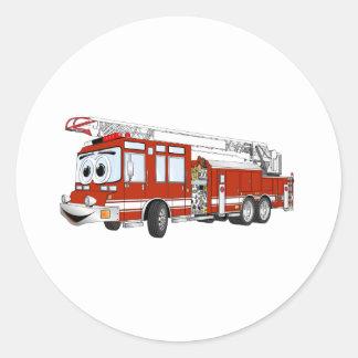 Desenhos animados do carro de bombeiros de gancho adesivos em formato redondos