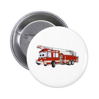 Desenhos animados do carro de bombeiros de gancho  bóton redondo 5.08cm