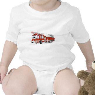 Desenhos animados do carro de bombeiros de gancho macacãozinho para bebês