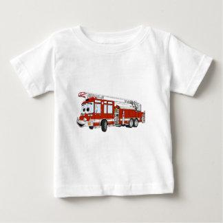 Desenhos animados do carro de bombeiros de gancho camiseta para bebê