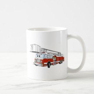 Desenhos animados do carro de bombeiros de gancho  caneca