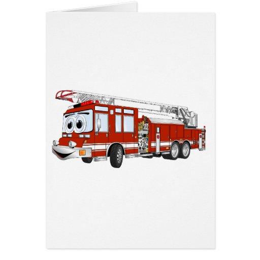 Desenhos animados do carro de bombeiros de gancho  cartao