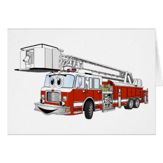 Desenhos animados do carro de bombeiros de gancho  cartão comemorativo