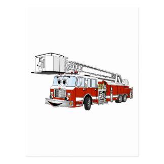 Desenhos animados do carro de bombeiros de gancho  cartão postal