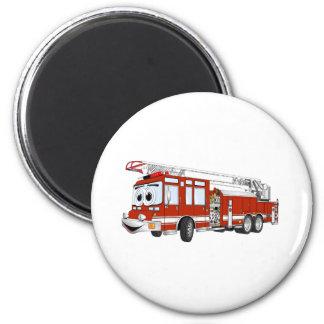 Desenhos animados do carro de bombeiros de gancho ímã redondo 5.08cm