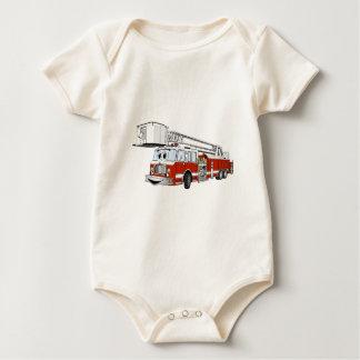Desenhos animados do carro de bombeiros de gancho macacão