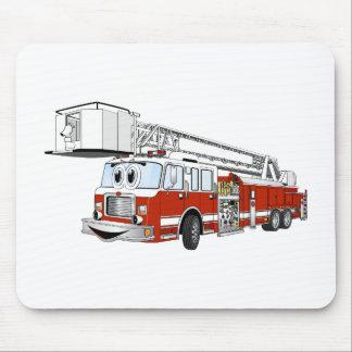 Desenhos animados do carro de bombeiros de gancho  mousepads