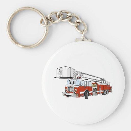 Desenhos animados do carro de bombeiros de gancho  chaveiros