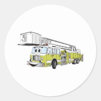 Desenhos animados do carro de bombeiros do Snorkel Adesivo Redondo