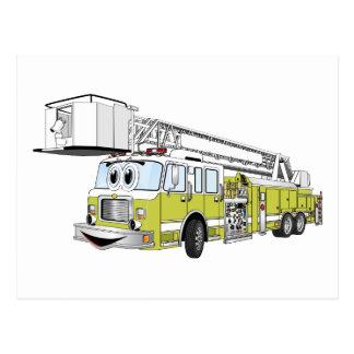 Desenhos animados do carro de bombeiros do Snorkel Cartão Postal