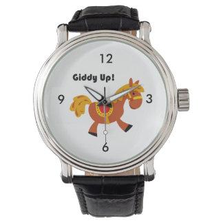Desenhos animados do cavalo de sela do Brown das Relógios De Pulso