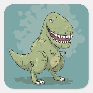 Desenhos animados do dinossauro T Rex Adesivo Quadrado
