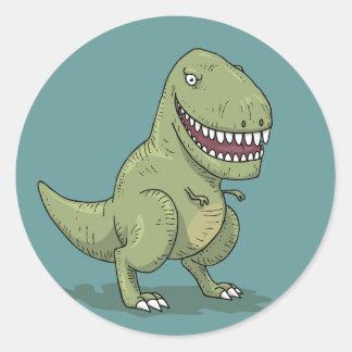Desenhos animados do dinossauro T Rex Adesivos Redondos