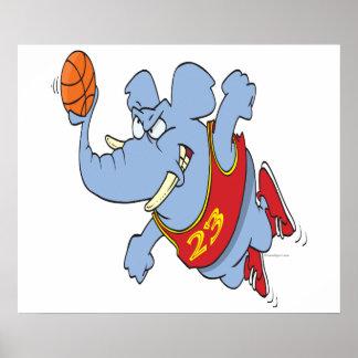 desenhos animados do elefante do basquetebol poster