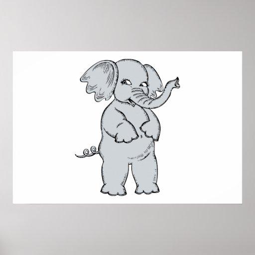 Desenhos animados do elefante posteres