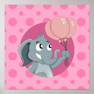 Desenhos animados do elefante pôster