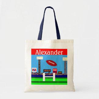 Desenhos animados do futebol do esporte dos miúdos bolsa de lona